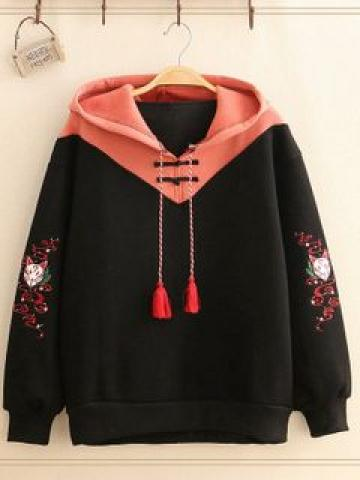 Fox-Embroidered Color-Block Hoodie As Shown In Figure - One Size